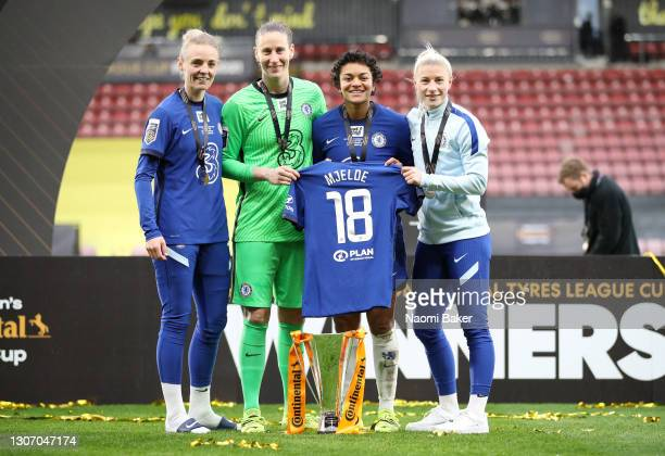 Sophie Ingle, Ann-Katrin Berger, Jess Carter and Pernille Harder of Chelsea celebrate with the Barclays FA Women's Continental Tyres League Cup...