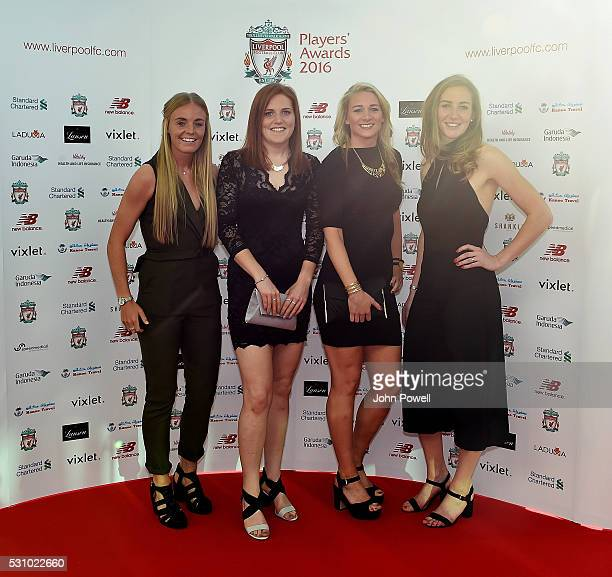 Sophie Ingle Danielle Gibbons Gemma Bonner and Siobhan Chamberlain of Liverpool Ladies arrives at the Liverpool FC End of Season Awards at The...
