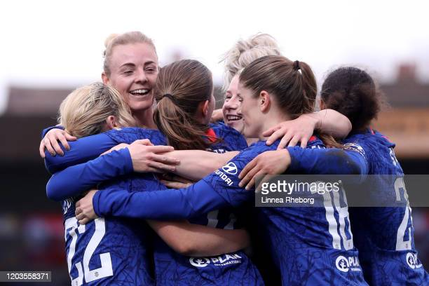 Sophie Ingle of Chelsea celebrates with teammates after scoring her sides third goal during the Barclays FA Women's Super League match between...