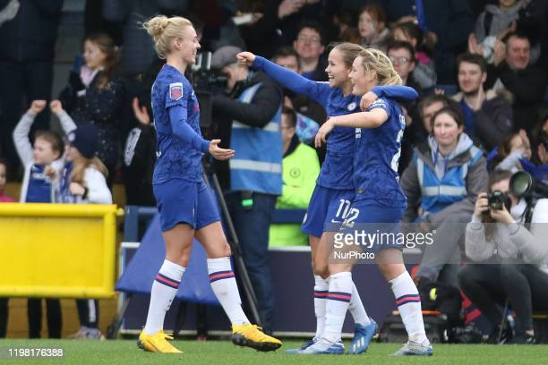Sophie Ingle of Chelsea Women celebrating her team's third goal during the Barclays FA Women's Super League match between Chelsea and West Ham United...