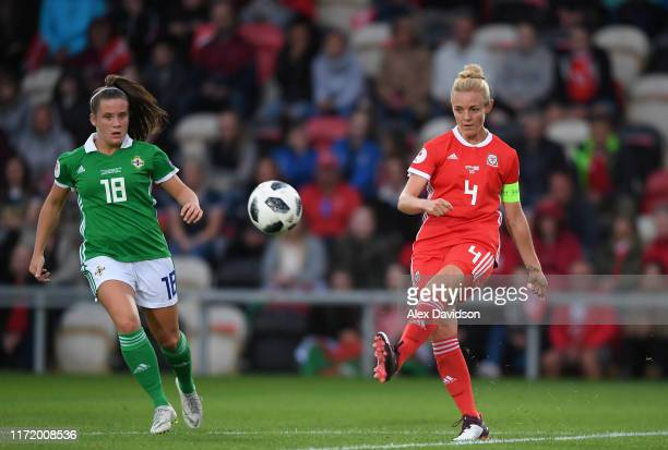 Sophie Ingle of Wales in action during the UEFA Womens Euro Qualifier match between Wales and Northern Ireland at Rodney Parade on September 03, 2019...