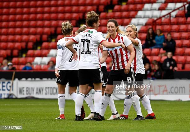 Sophie Jones of Sheffield United Women celebrates with teammates after scoring a goal during the The FA Women's Championship match between Sheffield...