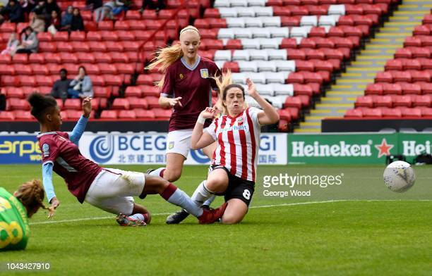 Sophie Jones of Sheffield United Women scores a goal during the The FA Women's Championship match between Sheffield United Women and Aston Villa...