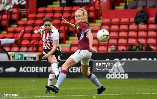 Sophie Jones of Sheffield United Women shoots past Evie Gane of Aston Villa Ladies to scores a goal during the The FA Women's Championship match...