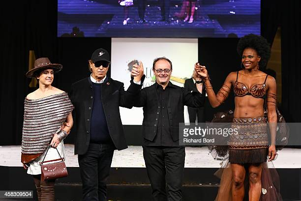 Sophie Jovillard Gilles Dufour JeanPaul Hevin and Muriel Hurtis walk the runway during the Fashion Chocolate show at Salon du Chocolat at Parc des...