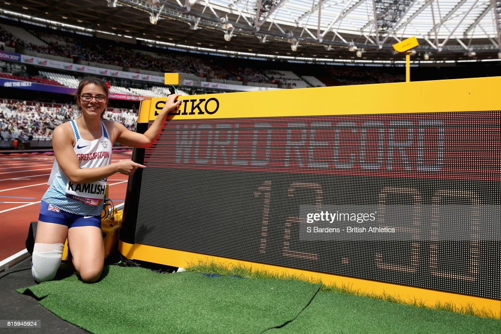 Sophie Kamlish of Great Britain celebrates setting a new world record in the Women's 100m T44 after the Women's 100m T44 Round 1 Heat 1 during Day Four of the IPC World ParaAthletics Championships 2017 London at London Stadium on July 17, 2017 in London, England.