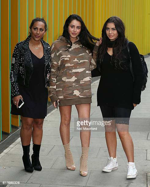 Sophie Kasaei Marnie Simpson and Chloe Ferry from Geordie Shore launch Series 13 at MTV London on October 24 2016 in London England