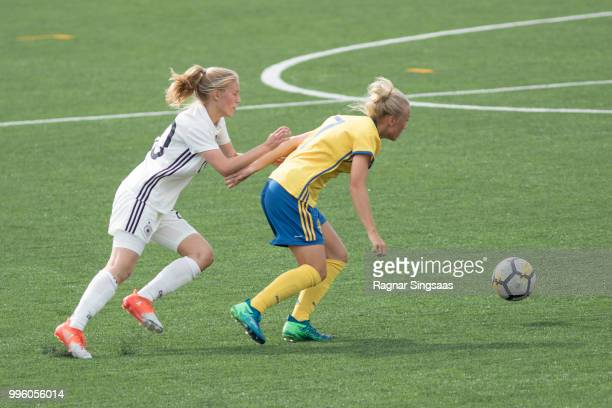 Sophie Krall of Germany compete for the ball during the Germany U16 Girl's v Sweden U16 Girl's Nordic Cup on July 6 2018 in Hamar Norway