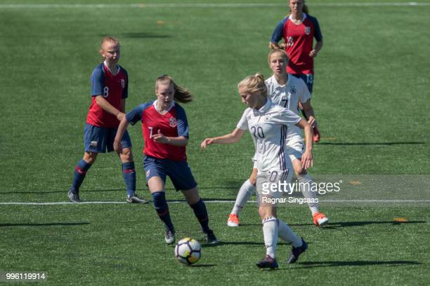 Sophie Krall of Germany compete for the ball during the Germany U16 Girl's v Norway U16 Girl's Nordic Cup on July 8 2018 in Hamar Norway