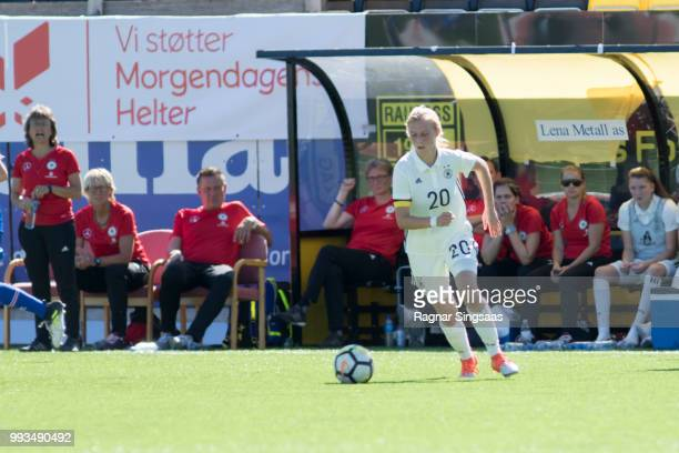 Sophie Krall of Germany controls the ball during the Germany U16 Girl's v Iceland U16 Girl's Nordic Cup on July 4 2018 in Raufoss Norway