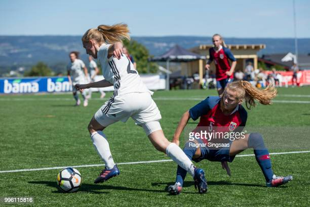 HAMAR NORWAY JULY 8 Sophie Krall of Germany controls the ball during the Nordic Cup match between Germany U16 Girl's and Norway U16 Girl's on July 8...