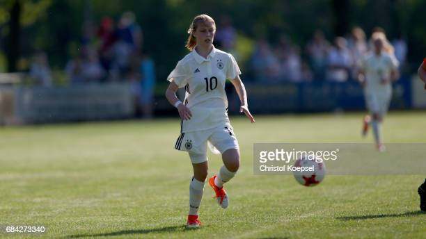 Sophie Krall of Germany runs with the ball during the U15 girl's international friendly match between Germany and Netherlands at Getraenke Hoffmann...