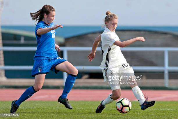 Sophie Krall of Girls Germany U16 challenges Anna Catelli of Girls Italy U16 during UEFA Development Tournament match between U16 Girls Germany and...