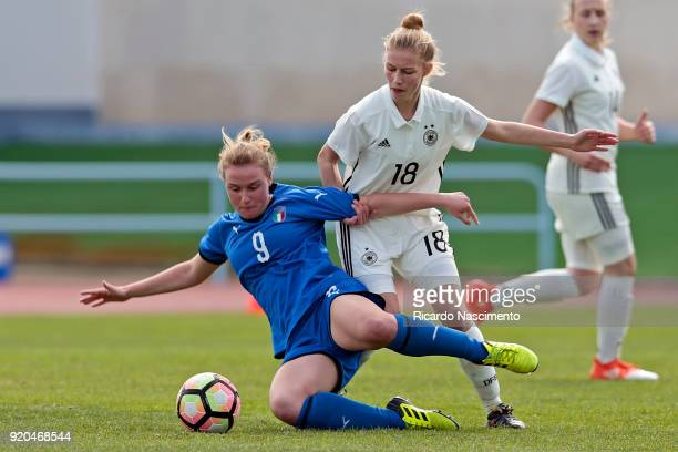 Sophie Krall of Girls Germany U16 challenges Giorgia Marchiori of Girls Italy U16 during UEFA Development Tournament match between U16 Girls Germany...