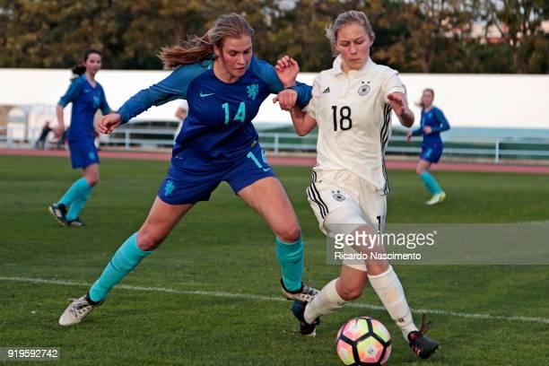 Sophie Krall of Girls Germany U16 challenges Marit Auee of Girls Netherllands U16 during UEFA Development Tournament match between U16 Girls Germany...