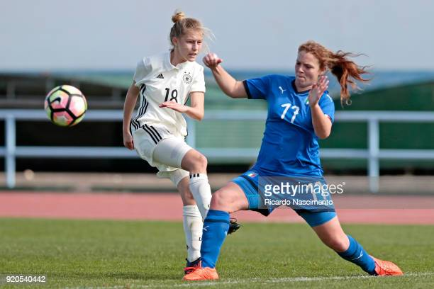 Sophie Krall of Girls Germany U16 challenges Nicole Costa of Girls Italy U16 during UEFA Development Tournament match between U16 Girls Germany and...