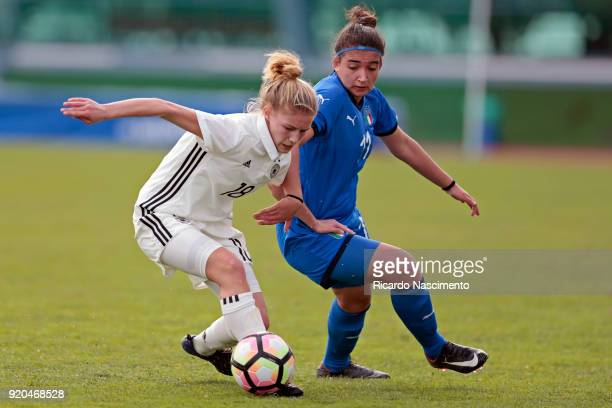 Sophie Krall of Girls Germany U16 challenges Veronica Battelani of Girls Italy U16 during UEFA Development Tournament match between U16 Girls Germany...