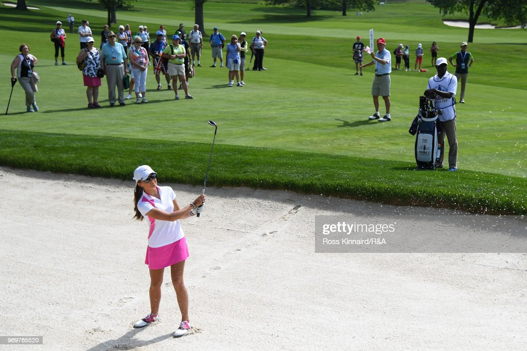 Sophie Lamb of Great Britian & Ireland plays her second shot on the fourth hole during four-ball matches on day one of the 2018 Curtis Cup at Quaker Ridge Golf Club on June 8, 2018 in Scarsdale, New York.