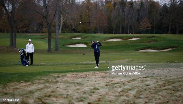 Sophie Lamb of the team GBI hits a drive as Leona Maguire looks on during Curtis Cup practice at Quaker Ridge GC on November 22 2017 in Scarsdale New...