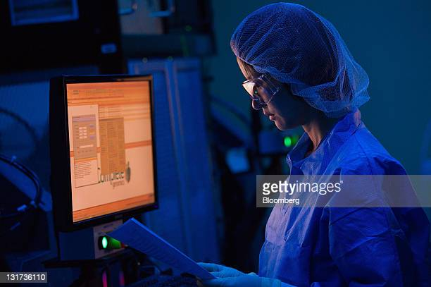 Sophie Liu research scientist at Complete Genomics Inc works in the sequencing center at the company's research facility in Mountain View California...
