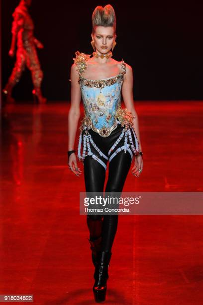 Sophie Longford walks the runway wearing The Blonds Fall 2018 Collection with makeup by Kabuki Magic and the MAC Pro team hair by Kien Hoang and...
