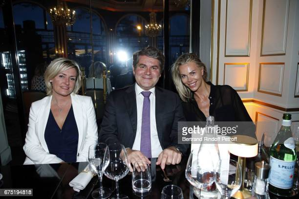 Sophie Louvrier Franck Louvrier and Sidonie Bellanger attend ReOpening Ceremony of Hotel Hermitage Barriere on April 29 2017 in La Baule France
