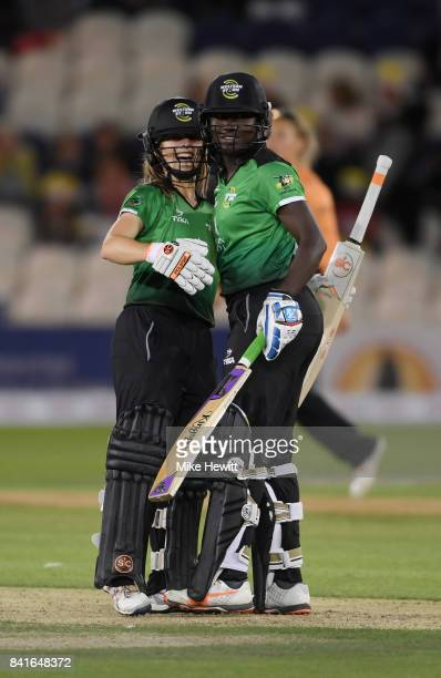 Sophie Luff and Stafanie Taylor of Western Storm celebrates after winning the Women's Kia Super League Final between Southern Vipers and Western...