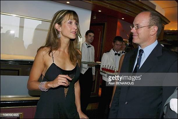 Sophie Marceau guest of honor and prince Albert of Monaco on August 02 2003