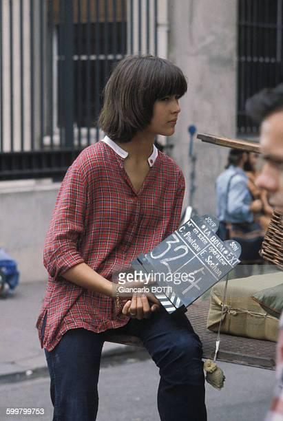 Sophie Marceau lors du tournage du film 'La Boum' de Claude Pinoteau en 1980 à Paris France