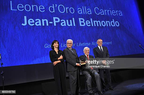 Sophie Marceau, Paolo Baratta, Jean Paul Belmondo and Alberto Barbera attend the Golden Lion For Jean Paul Belmondo followed by the 'Le Voleur'...