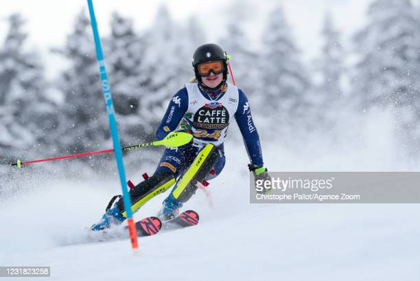 Sophie Mathiou of Italy in action during the Audi FIS Alpine Ski World Cup Women's Slalom on March 20, 2021 in Lenzerheide, Switzerland.