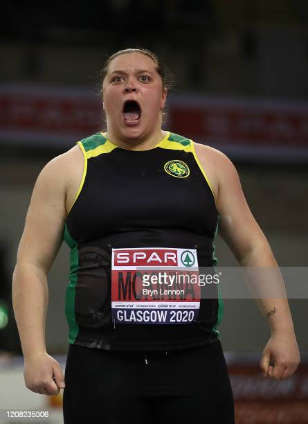 Sophie McKinna of Great Britain reacts in the Women's Shot Put during SPAR British Athletics Indoor Championships at Emirates Arena on February 23...