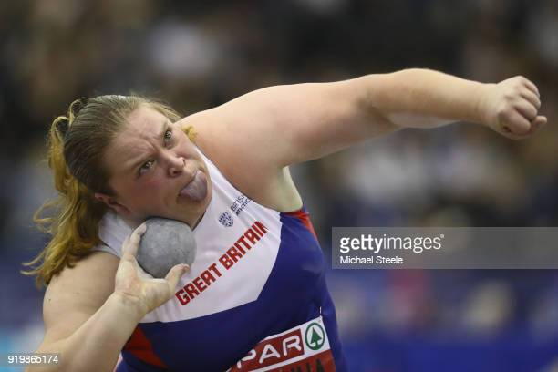 Sophie McKinna of Great Yarmouth and District AC in the women's shot put final during day two of the SPAR British Athletics Indoor Championships at...
