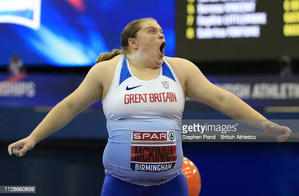 Sophie McKinna of Great Yarmouth reacts during the Women's Shot Put Final during Day Two of the SPAR British Athletics Indoor Championships at Arena...