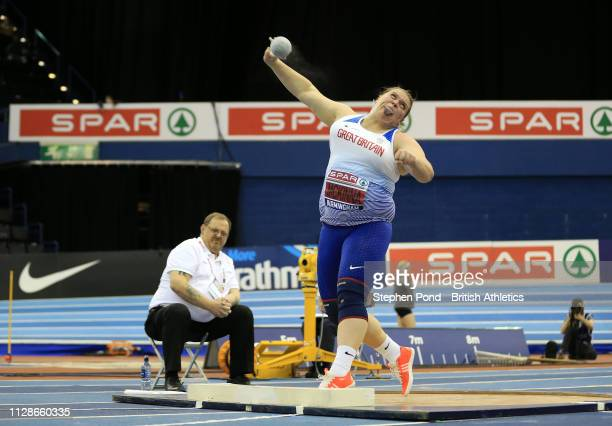 Sophie McKinna of Great Yarmouth throws during the Women's Shot Put Final during Day Two of the SPAR British Athletics Indoor Championships at Arena...