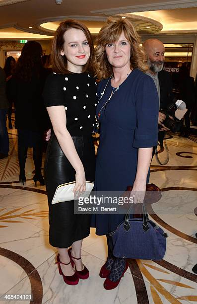 Sophie McShera and Siobhan Finneran attend a drinks reception at the South Bank Sky Arts awards at the Dorchester Hotel on January 27, 2014 in...