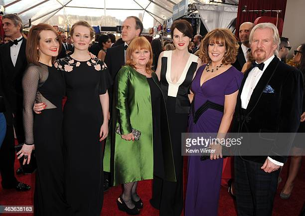 Sophie McShera Cara Theobold Laura Carmichael Lesley Nicol Michelle Dockery and Phyllis Logan attends 20th Annual Screen Actors Guild Awards at The...