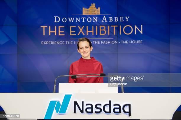 Sophie McShera of 'Downton Abbey' rings the Nasdaq Stock Market Closing Bell at NASDAQ on November 17 2017 in New York City