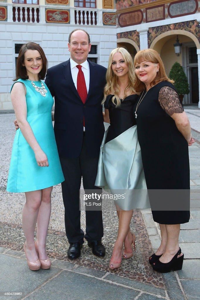 Sophie Mcshera, Prince Albert II of Monaco, Joanne Froggatt and Lesley Nicol attend a cocktail reception at Monaco Palace on June 9, 2014 in Monte-Carlo, Monaco.