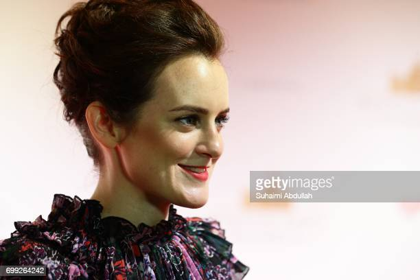 Sophie McShera speaks to the media during the Downtown Abbey The Exhibition Red Carpet at the Sands Expo and Convention Centre on June 21 2017 in...