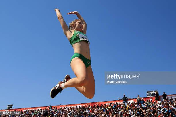 Sophie Meredith of Ireland competes in Women's Long Jump Stage 2 during day 8 of Buenos Aires 2018 Youth Olympic Games at Youth Olympic Park Villa...