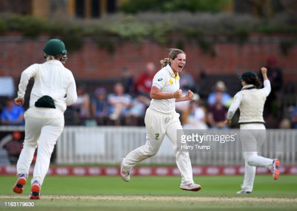 Sophie Molineux of Australia celebrates after taking the wicket of Amy Jones of England during Day Three of the Kia Women's Test Match between...