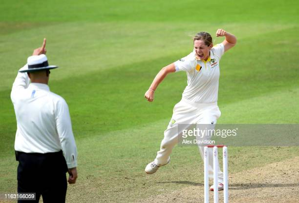 Sophie Molineux of Australia celebrates taking the wicket of Heather Knight of England during Day Three of the Kia Women's Test Match between England...