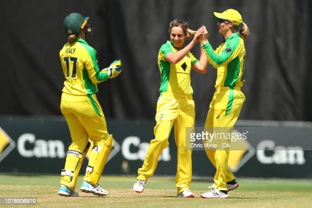 Sophie Molineux of Australia celebrates taking the wicket of Natalie Dodd of New Zealand during game two of the Women's International series between...