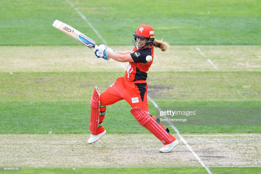 Sophie Molineux of the Renegades bats during the Women's Big Bash League match between the Melbourne Renegades and the Hobart Hurricanes at Blundstpne Arena on January 14, 2018 in Hobart, Australia.