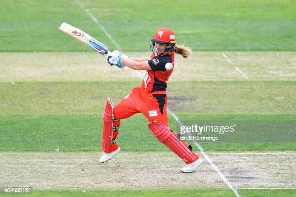 Sophie Molineux of the Renegades bats during the Women's Big Bash League match between the Melbourne Renegades and the Hobart Hurricanes at...