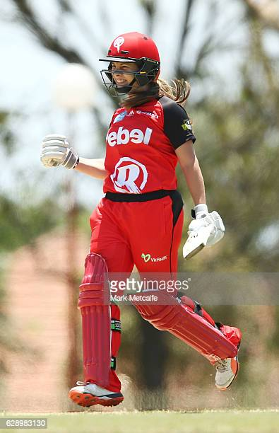 Sophie Molineux of the Renegades celebrates victory during the Women's Big Bash League match between the Melbourne Renegades and the Adelaide...