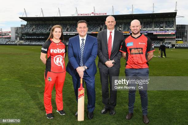 Sophie Molineux of the Renegades Sports Minister John Eren Renegades CEO Stuart Coventry and Tim Ludeman of the Renegades pose during a Melbourne...