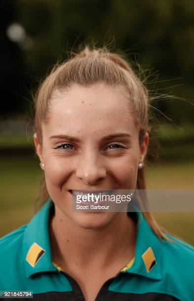 Sophie Molineux poses during a Cricket Australia media opportunity at the Melbourne Cricket Ground on February 21 2018 in Melbourne Australia...