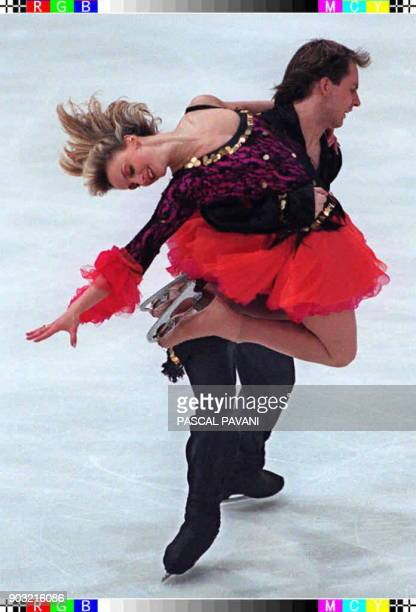 Sophie Moniotte and Pascal Lavanchy from France present their free dance program 24 January at the 1997 European Figure Skating Championships in...